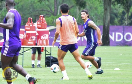 Orlando City SC midfielder Servando Carrasco, right, prepares to pass the ball during a training session at Sylvan Lake Park on Friday, Sept. 2, 2016. (Photo by Victor Tan / New Day Review)
