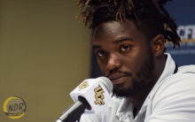 University of Central Florida defensive back T.J. Mutcherson speaks to the media at the team's weekly game-week press conference at Bright House Networks Stadium on Monday, Oct. 3, 2016. (Photo by Victor Tan / New Day Review)